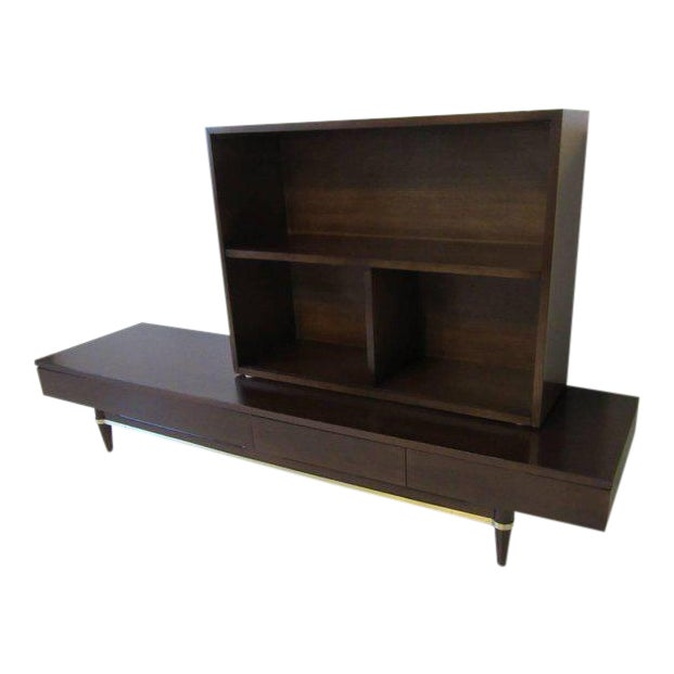 American of Martinsville Ebony and Brass Platform Bookcase For Sale