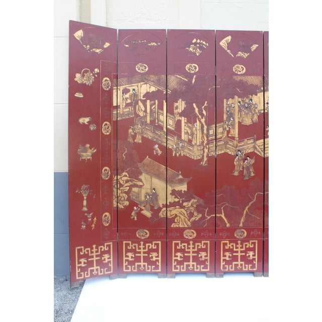 Antique Traditional 8-Panel Red & 24k Gold Asian Screen For Sale - Image 4 of 11