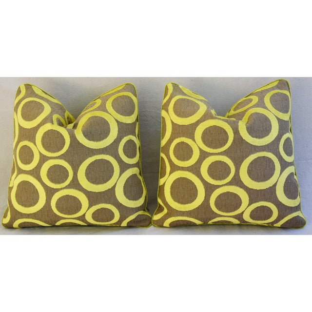 Hollywood Glam Lime Opuzen Cut Velvet Pillows - a Pair - Image 6 of 11