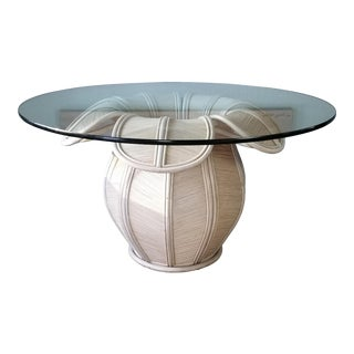 1980s Bell - Flower Shape Rattan Dining Table Gabriella Crespi Attributed For Sale