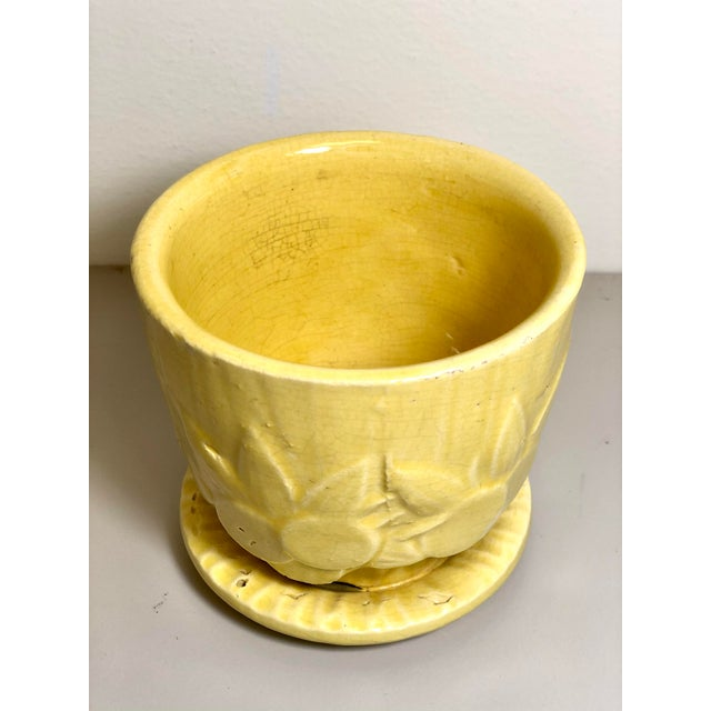 "McCoy Pottery 1940s - 1960s ""Yellow"" Mid Century Flowerpot And Attached Saucer, Fruit And Leaves Design, Small, Yellow..."