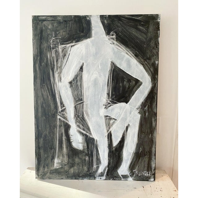 Abstracted figure, seated in a chair. Chalk/ compressed white charcoal and acrylic on canvas. 40 x 30 x 1.5. Edges painted...
