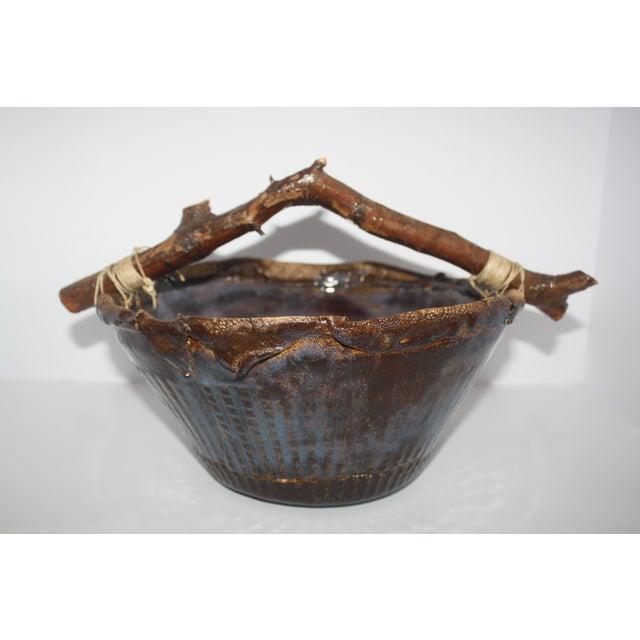 Cottage Handmade Pottery Basket For Sale - Image 3 of 8