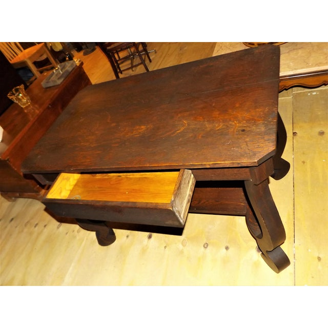 Antique Walnut Library Desk For Sale - Image 9 of 11