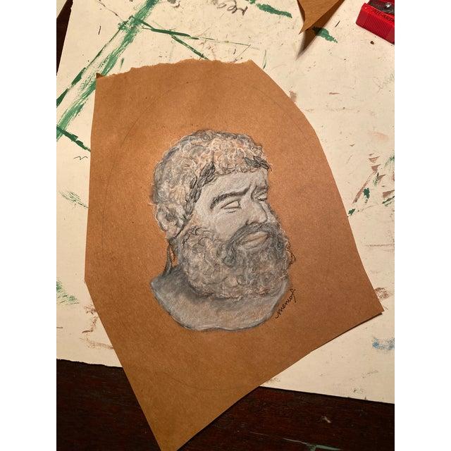 Vintage Original Memo Faraj Hercules Bust Sketch Painting For Sale - Image 6 of 9