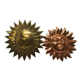1960s Vintage Brass & Copper Sun Sculptures - a Pair For Sale