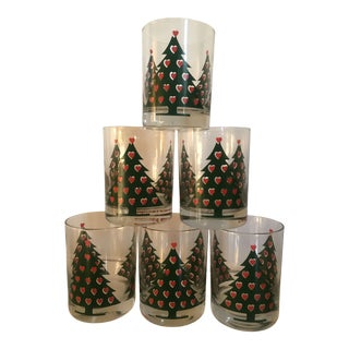 1980s Americana Periscope Red Christmas Tree Glasses - Set of 6 For Sale