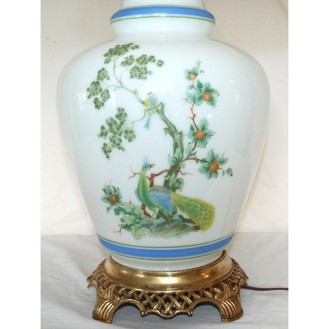 Asian Vintage Asian Style Green Blue Peacock Ginger Jar Table Lamp For Sale - Image 3 of 8