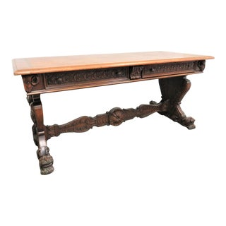 19th Century Victorian Figural Carved Walnut Console Table For Sale
