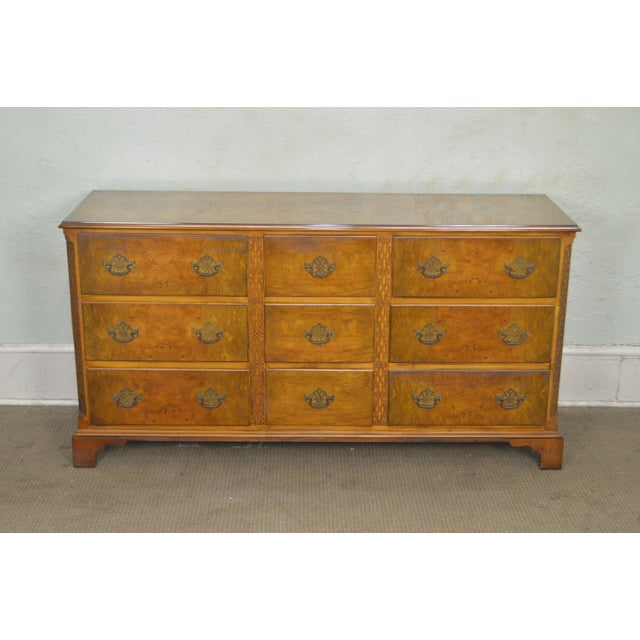 Baker Vintage Burl Wood Chippendale Style Dresser For Sale - Image 9 of 13