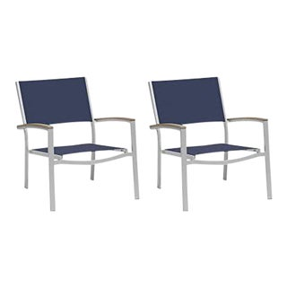 Outdoor Sling Lounge Chair, Vintage and Ink (Set of 2) For Sale
