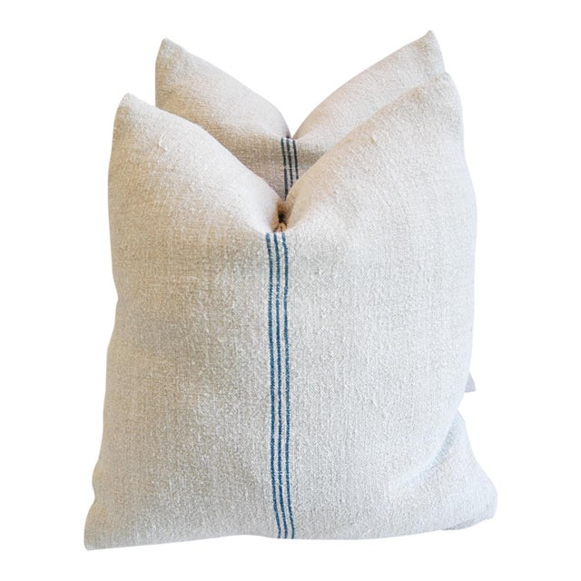 Custom French Grain Sack Down & Feather Pillows - Pair - Image 1 of 9