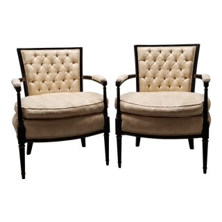 1950s French Provincial Style Bergere' Chairs - a Pair For Sale