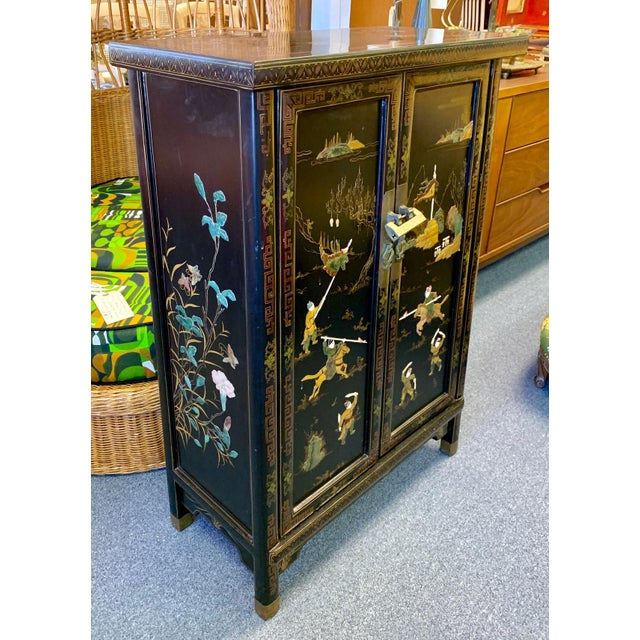 Metal 1950's Vintage Black Lacquer Chinoiserie Armoire For Sale - Image 7 of 12