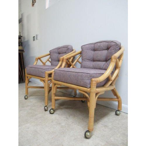 Ficks Reed Vintage Ficks Reed Rattan Bamboo Arm Chairs -A Pair For Sale - Image 4 of 11