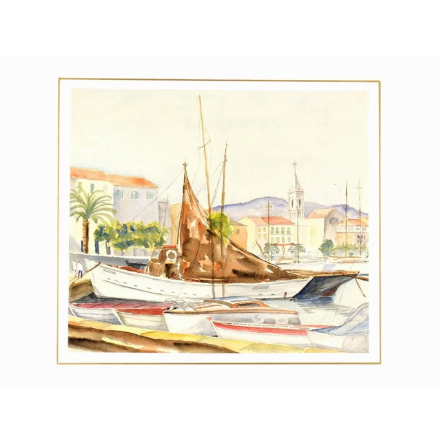 Traditional French Watercolor Harbor Landscape - Mediterranean Wharf With Sailboats For Sale - Image 3 of 4