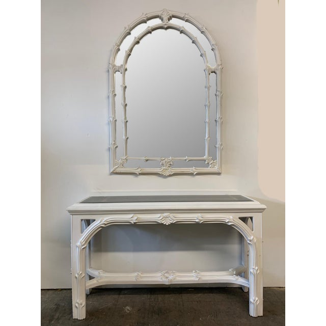 White Roche Style Gampel Stoll Console Table and Mirror For Sale - Image 8 of 8