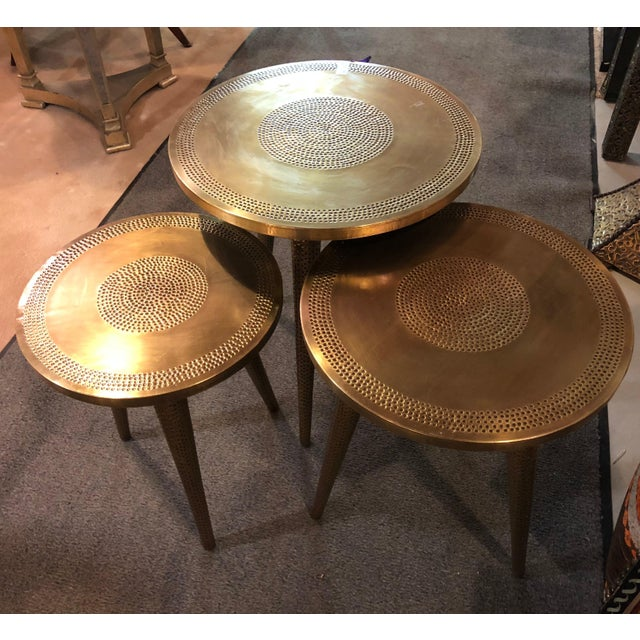Mid-Century Modern Style Brass Nest of Tables or End Tables, Nest of Three For Sale - Image 11 of 12