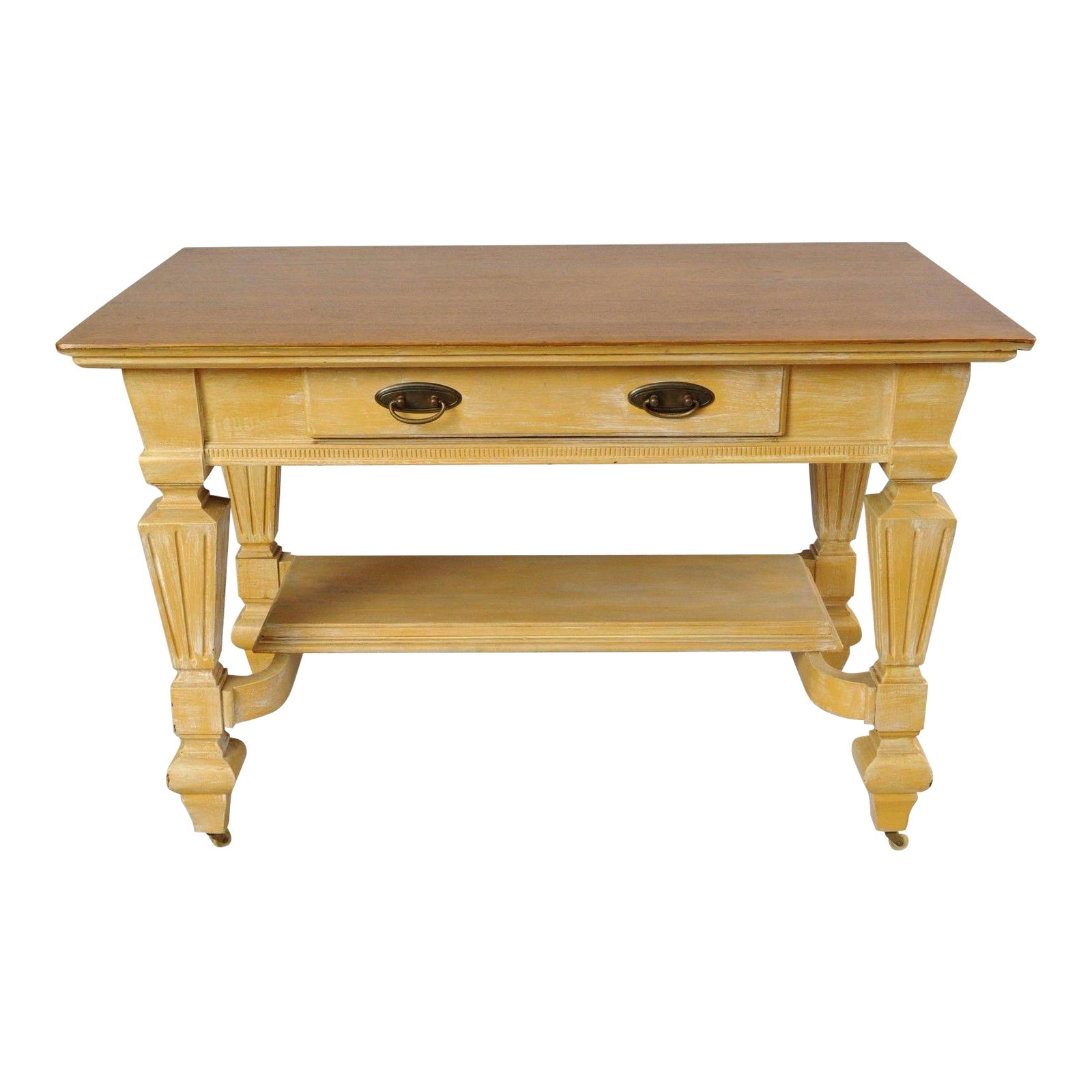 Antique Golden Oak Desk Hall Table Console Mission Arts Crafts One Drawer Chairish