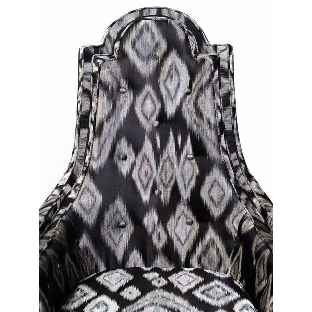 Pair of Hollywood Regency High Back Lounge Chairs in Silk Ikat For Sale - Image 9 of 11
