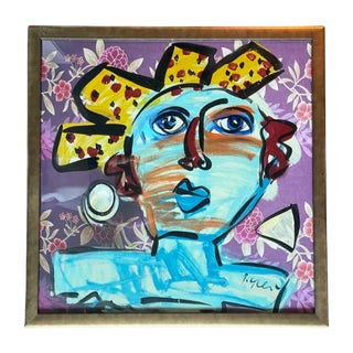 Late 20th Century Abstract Face Acrylic Painting by Peter Keil, Framed For Sale