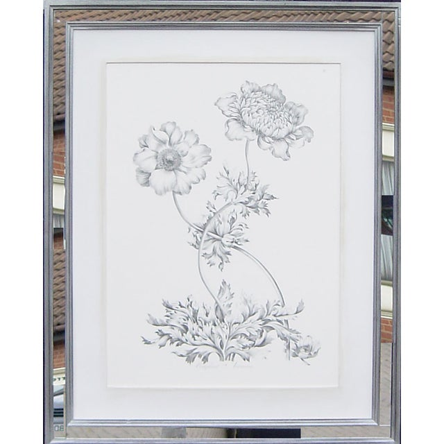 Floral Print with Handmade Mirrored Frame | Chairish