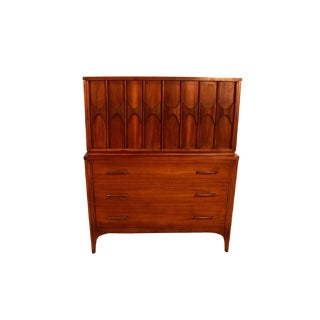 Kent Coffey Perspecta Mid Century Rosewood Walnut High Boy Dresser For Sale