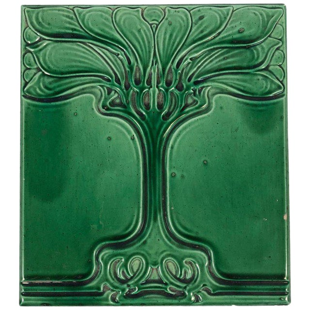 Art Nouveau Emerald Green Glazed Tree Ceramic Tile For Sale
