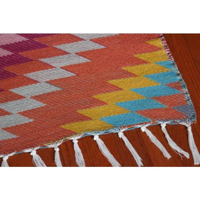 Rainbow Flat Weave Diamond Turkish Wool Kilim Rug - 4' x 6' - Image 7 of 12