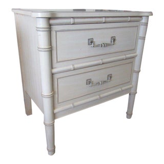 Vintage White Faux Bamboo Nightstand