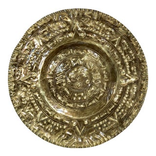 Vintage Brass Sun Tray Hammered Brass Mexican Plate Mayan Relief Charger For Sale
