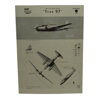 """Vintage WWii Aircraft Recognition Poster """"Mitsubishi - Type 97"""", Japan, 1943"""