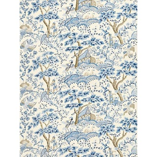 Sample, Scalamandre Kelmescott Hand Block Print Fabric, Porcelain For Sale