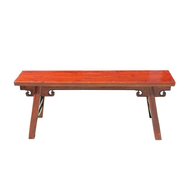 Chinese Oriental Distressed Brown Stain Long Wood Bench Stool For Sale In San Francisco - Image 6 of 8