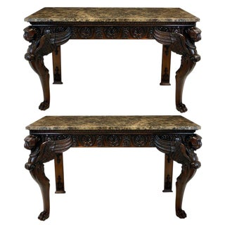 A Pair of Large English Mahogany & Marble Top Console Tables For Sale