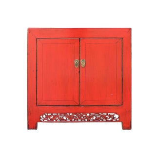 Chinese Distressed Rustic Red Foyer Console Table Cabinet For Sale