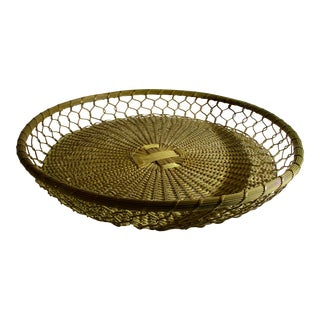 1910s French Woven Brass Serving Tray For Sale