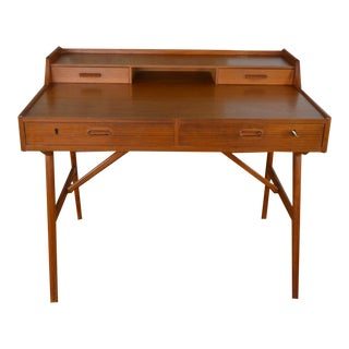Arne Wahl Iversen Petite Danish Modern Teak Desk For Sale