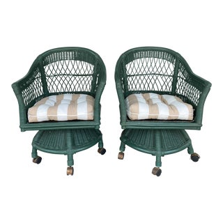 Vintage Henry Link Wicker Swivel Chairs- a Pair For Sale