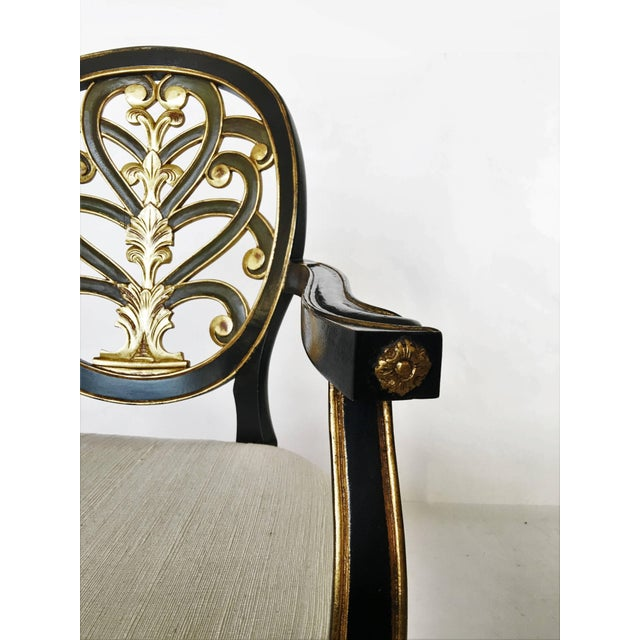 Mid 20th Century Pair of Elegant Sheraton Style Lacquer and Gilt Carved Armchairs For Sale - Image 5 of 9