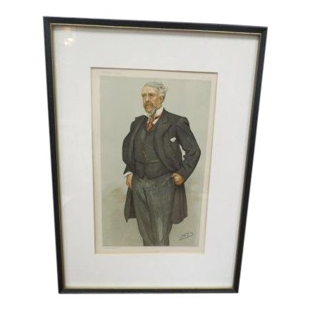 1896 Antique Vanity Fair Men of the Day Lithograph Print For Sale