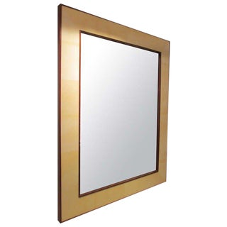 Custom Rectangular Parchment Framed Mirror For Sale