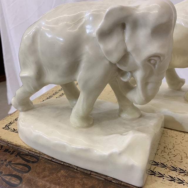 White Rookwood Elephant Book Ends For Sale - Image 9 of 11