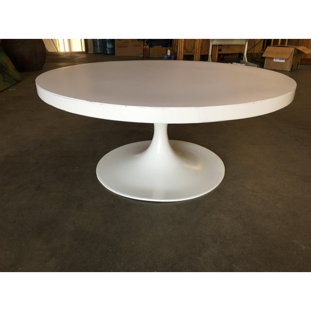 """Large 35.5"""" heavy thick top round """"Tulip"""" coffee table designed in the Eero Saarinen/Knoll International style. The table..."""