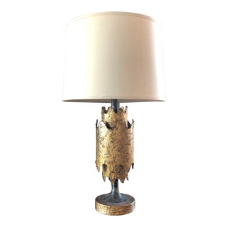 Mid 20th Century Brutalist Metal Brass Lamp For Sale