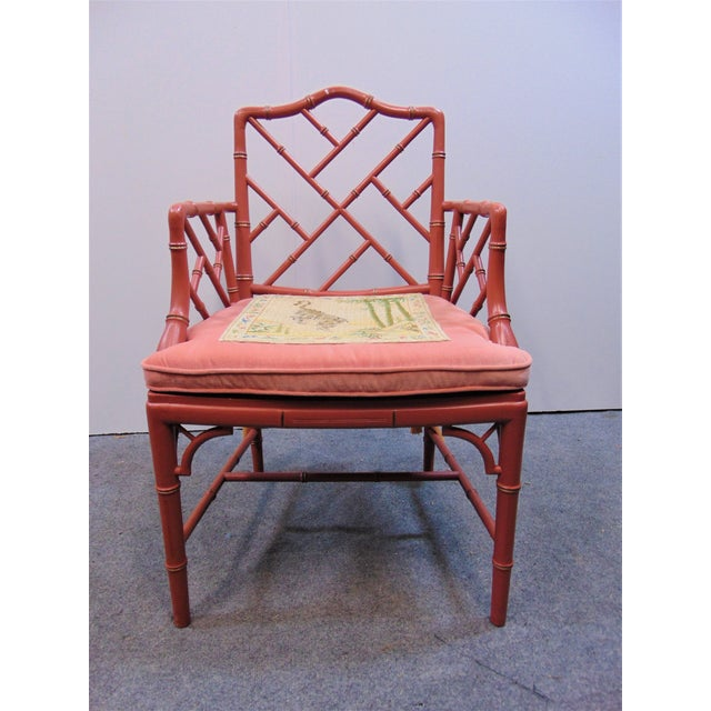 Rose Mid 20th Century Regency Faux Bamboo Rose Arm Chairs - a Pair For Sale - Image 8 of 9