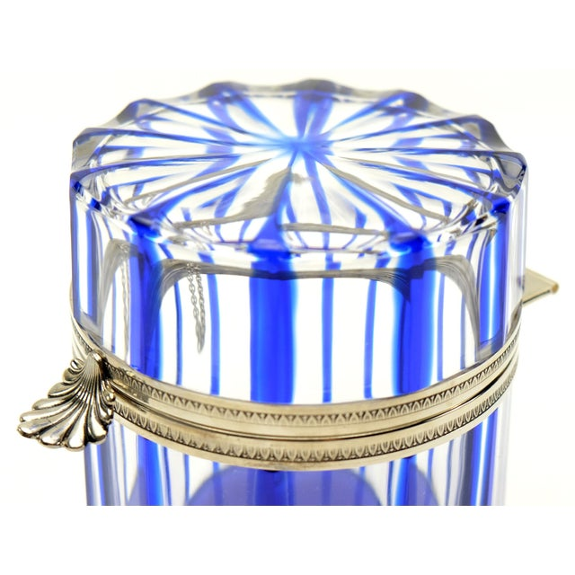 Metal Cristal Benito Cobalt Blue and Cut Crystal Lidded Box, France For Sale - Image 7 of 9