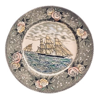 1970s Art Nouveau Currier & Ives Gray Floral Ship Adams China Wall Plate