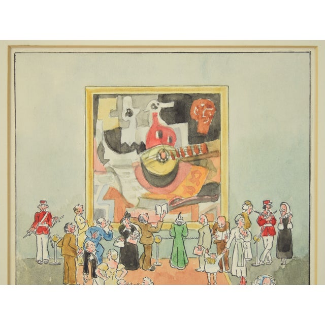 """1955 William Russell Button """"Picasso"""" Modern Art Exhibition Watercolor Painting For Sale - Image 4 of 10"""