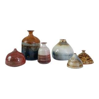 Franco Agnese Set of Six Ceramic Vases in Multi-Color, France, 1960s For Sale